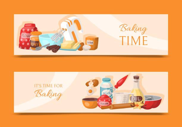 ilustrações de stock, clip art, desenhos animados e ícones de baking time set of banners. kitchen utensils. baking ingredients set sugar, vanilla, flour, oil, butter, baking soda, baking powder, honey, eggs. cooking vector illustration. - baking bread at home