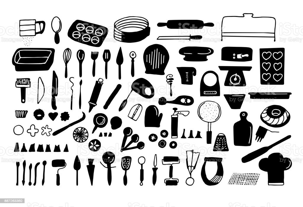 Baking tools and essentials. Hand drawn bakery supplies. Line vector kitchen utensils icon set. vector art illustration