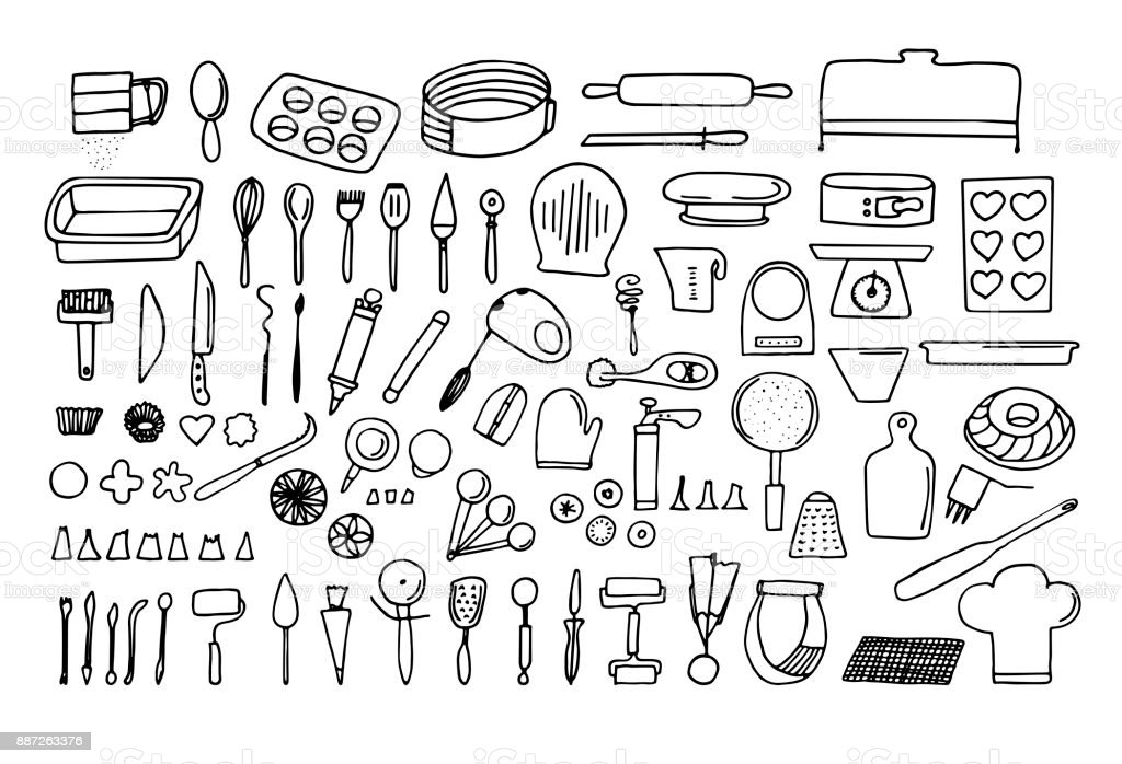 Baking Tools And Essentials Hand Drawn Bakery Supplies Line Vector Kitchen Utensils Icon Set