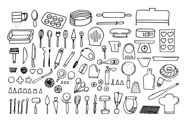 Baking tools and essentials. Hand drawn bakery supplies. Line vector kitchen utensils icon set. Baking tools and essentials. Hand drawn bakery supplies. Line vector kitchen utensils icon set. Bakeware needs. grater utensil stock illustrations