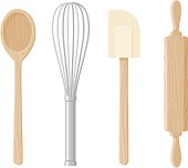 A set of 4 baking implements: a wooden spoon, whisk, rolling pin and rubber spatula. No gradients were used when creating this illustration.