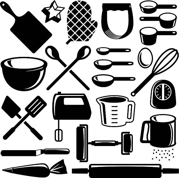 Baking Tools Editable vector illustrations. measuring cup stock illustrations
