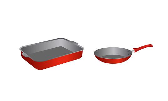 Baking tray and frying pan
