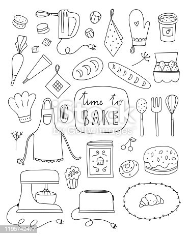 Baking vector illustrations on white background. Hand drawn outline set with kitchen equipment, food and ingredients for cooking