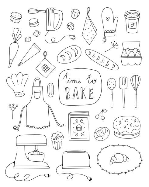 Baking vector illustrations on white background. Hand drawn outline set with kitchen equipment, food and ingredients for cooking Baking vector illustrations on white background. Hand drawn outline set with kitchen equipment, food and ingredients for cooking cooking clipart stock illustrations