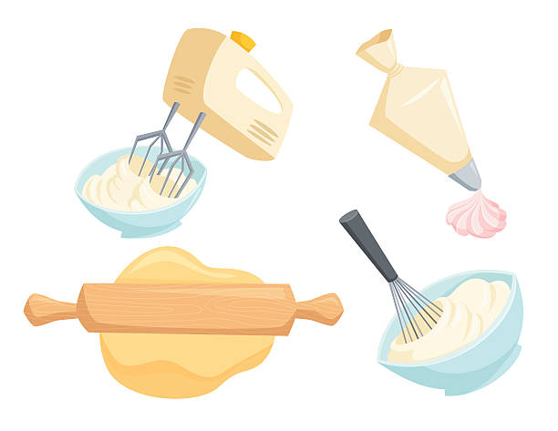 Baking vector set Baking set. Mixer or whisk whipped cream, roll out dough with rolling pin, decorate cakes with cream from pastry bag. Bakery process vector illustration. Kitchenware, cooking utensil isolated on white rolling pin stock illustrations