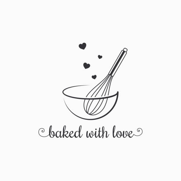 baking with wire whisk logo on white background - baking stock illustrations
