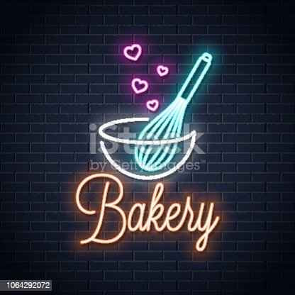 Baking with wire whisk neon sign. Bakery neon banner on wall background 10 eps