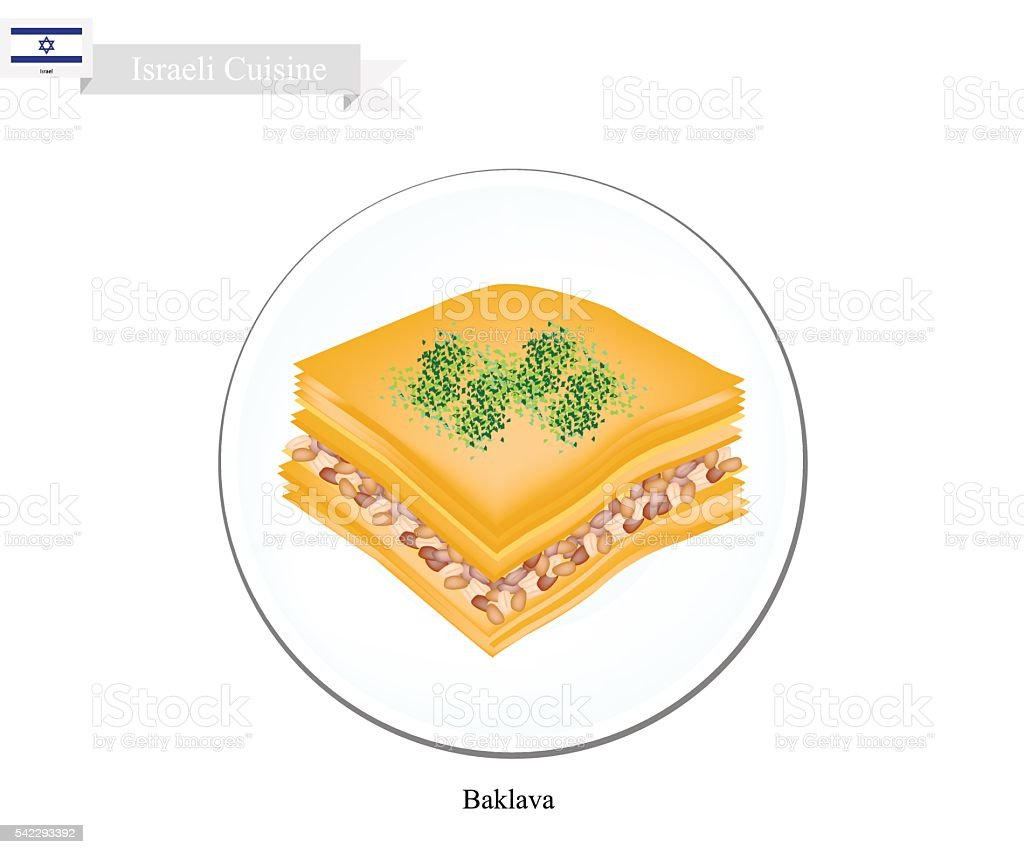 Baklava or Israeli Cheese Pastry with Syrup vector art illustration