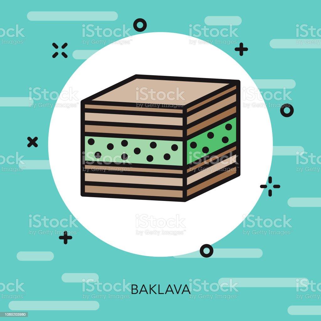 Baklava Thin Line Turkey Icon vector art illustration