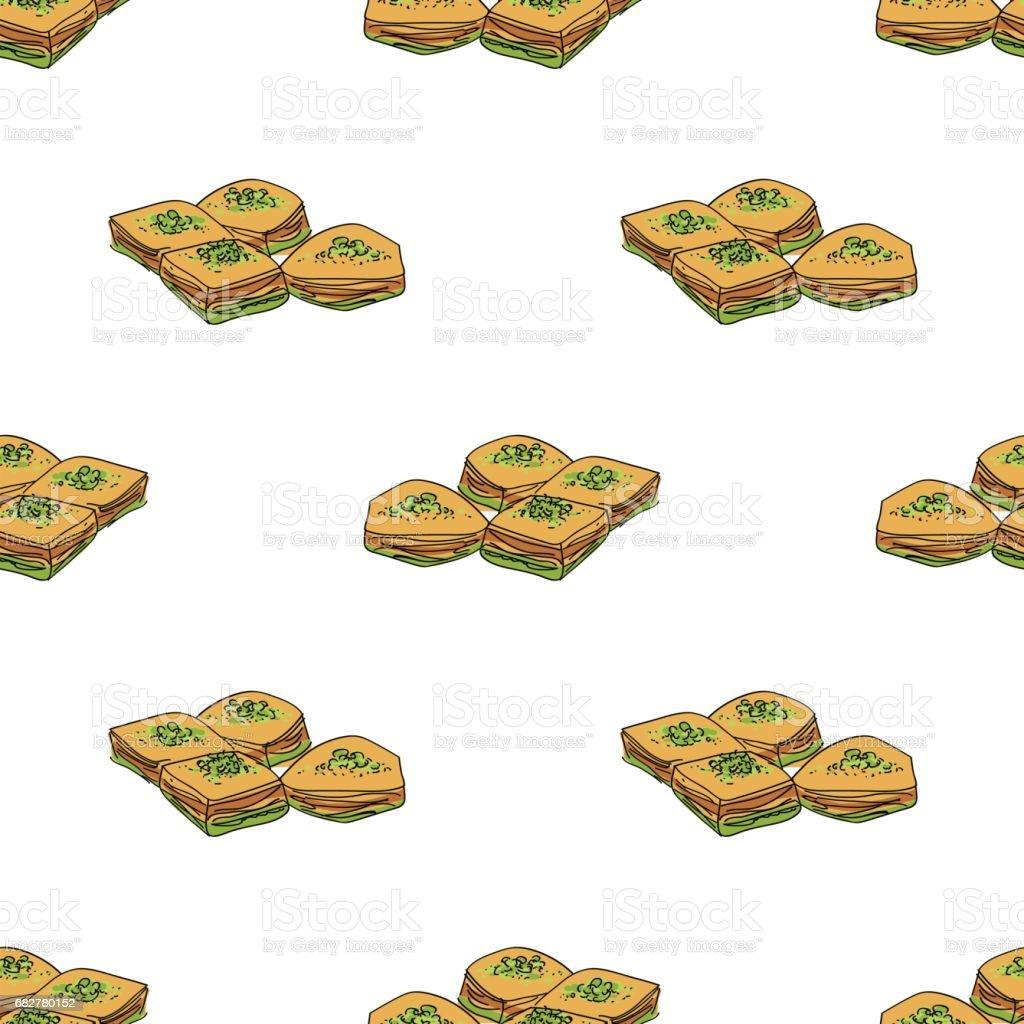 Baklava vector seamless pattern. vector art illustration