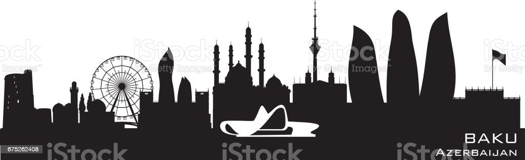Baku Azerbaijan city skyline silhouette vector art illustration
