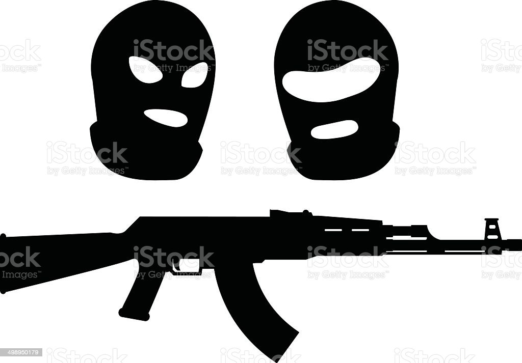 balaclavas and machine gun vector art illustration