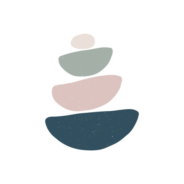 balance and zen concept. abstract shape rocks pyramid - meditating stock illustrations