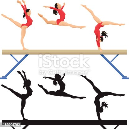 Stylised illustration of a gymnast on a balance beam. Layered and grouped for ease of use. Download includes EPS8 vector file and hi-res jpeg.