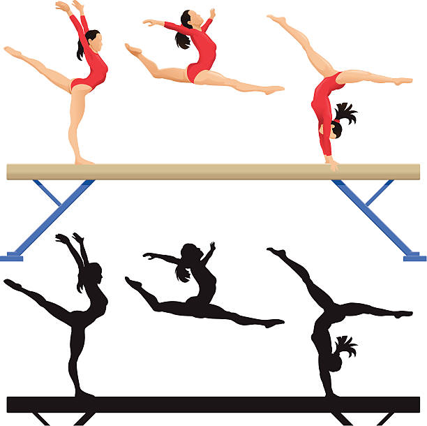 balance beam - gymnastics stock illustrations, clip art, cartoons, & icons