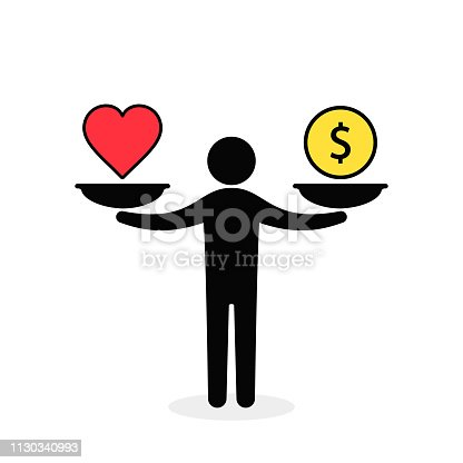 Balance between heart and money. Man balances heart love and money on scale concept. Vector color illustration.