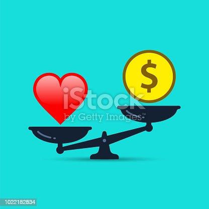 Balance between heart and money. Vector illustration.