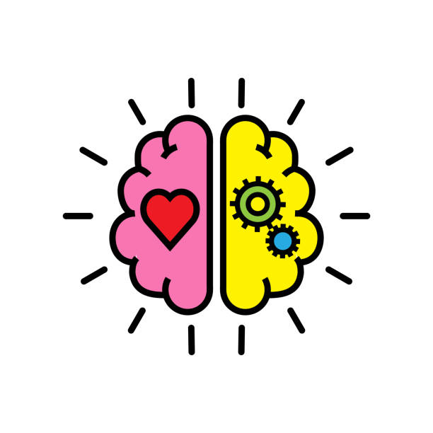 balance between logic and emotion - love emotion stock illustrations