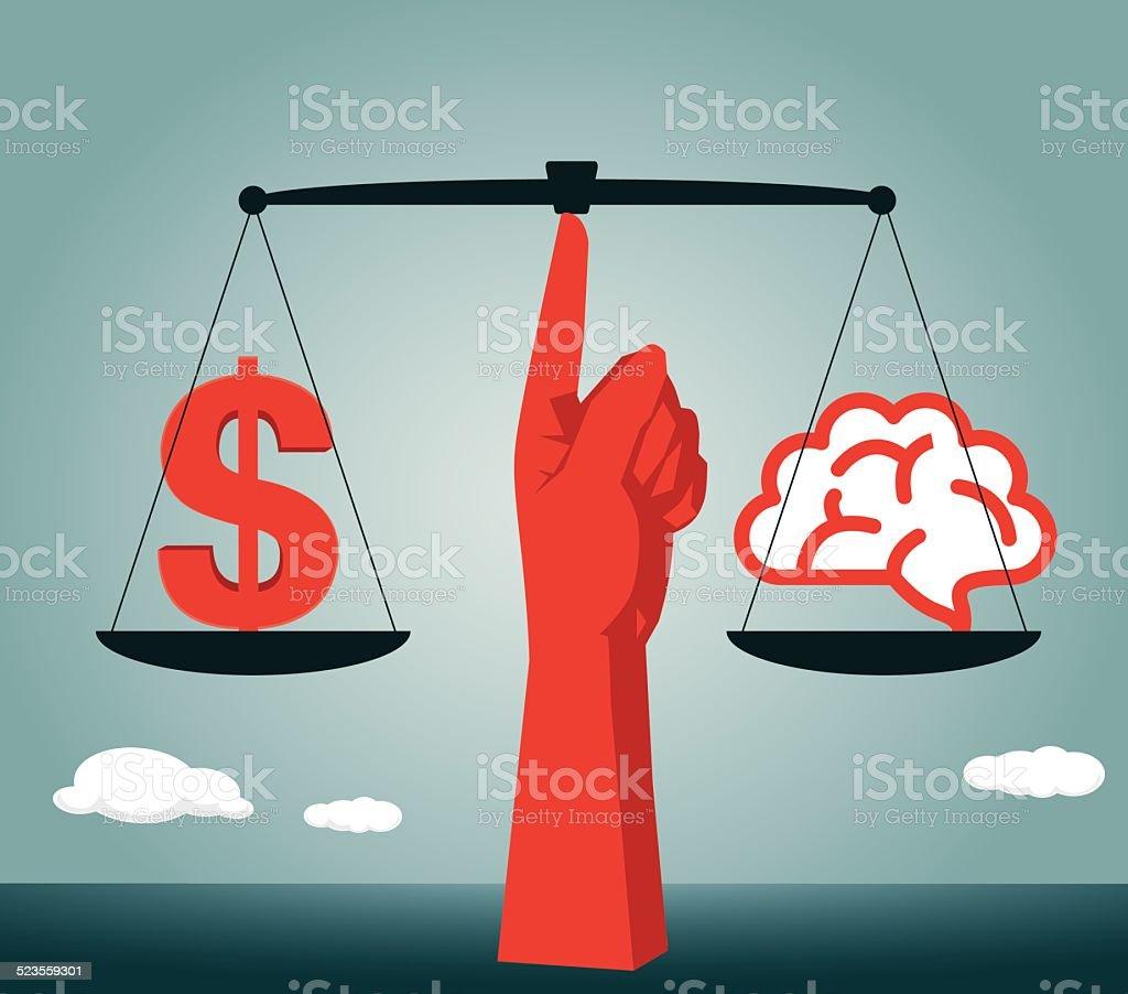 Gleichgewicht Gehirn Gleichheit Dollarsymbol Waage Ethik Und Moral ...
