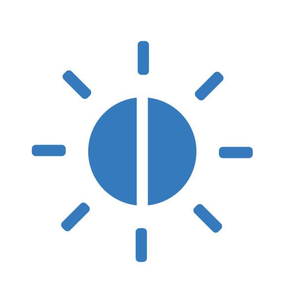 balance, helligkeitssteuerung blaues symbol - farbsättigung stock-grafiken, -clipart, -cartoons und -symbole