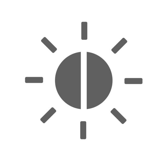 balance, helligkeitssteuerung graues symbol - farbsättigung stock-grafiken, -clipart, -cartoons und -symbole