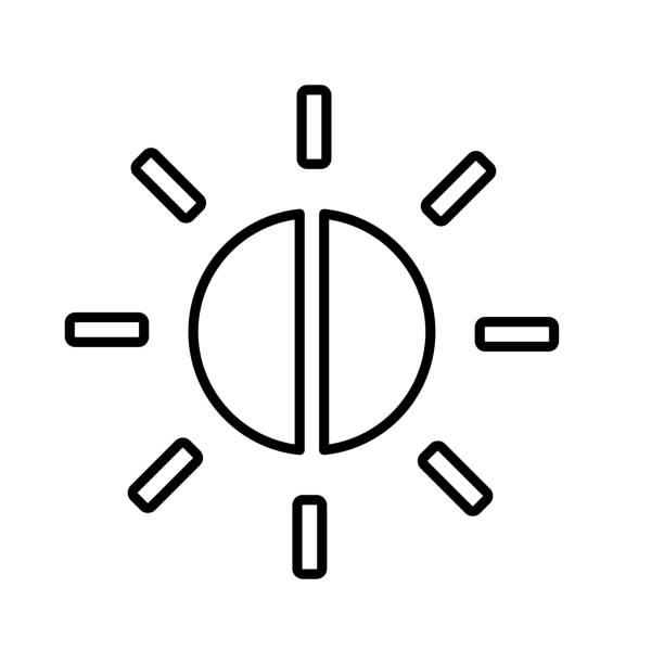 balance, helligkeitssteuerungsliniensymbol - farbsättigung stock-grafiken, -clipart, -cartoons und -symbole