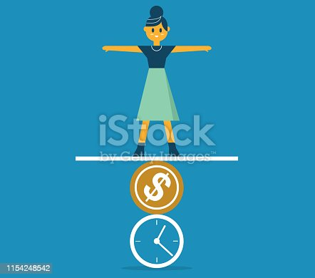 Businesswoman standing on the time and money to maintain a balance