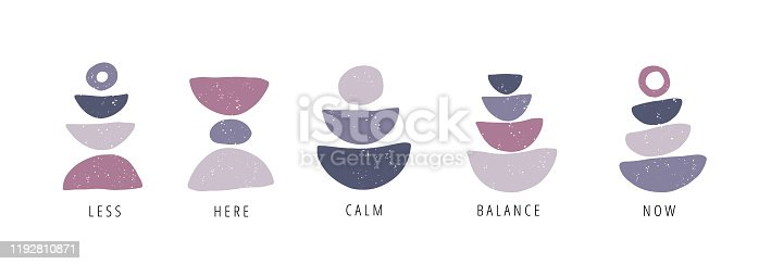 Balance, calm, now flat vector posters set. Motivational drawings collection isolated on white background. Creative print, t shirt design element. Balance, harmony and wellbeing concept
