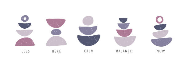 Balance, calm, now flat vector posters set Balance, calm, now flat vector posters set. Motivational drawings collection isolated on white background. Creative print, t shirt design element. Balance, harmony and wellbeing concept meditation stock illustrations