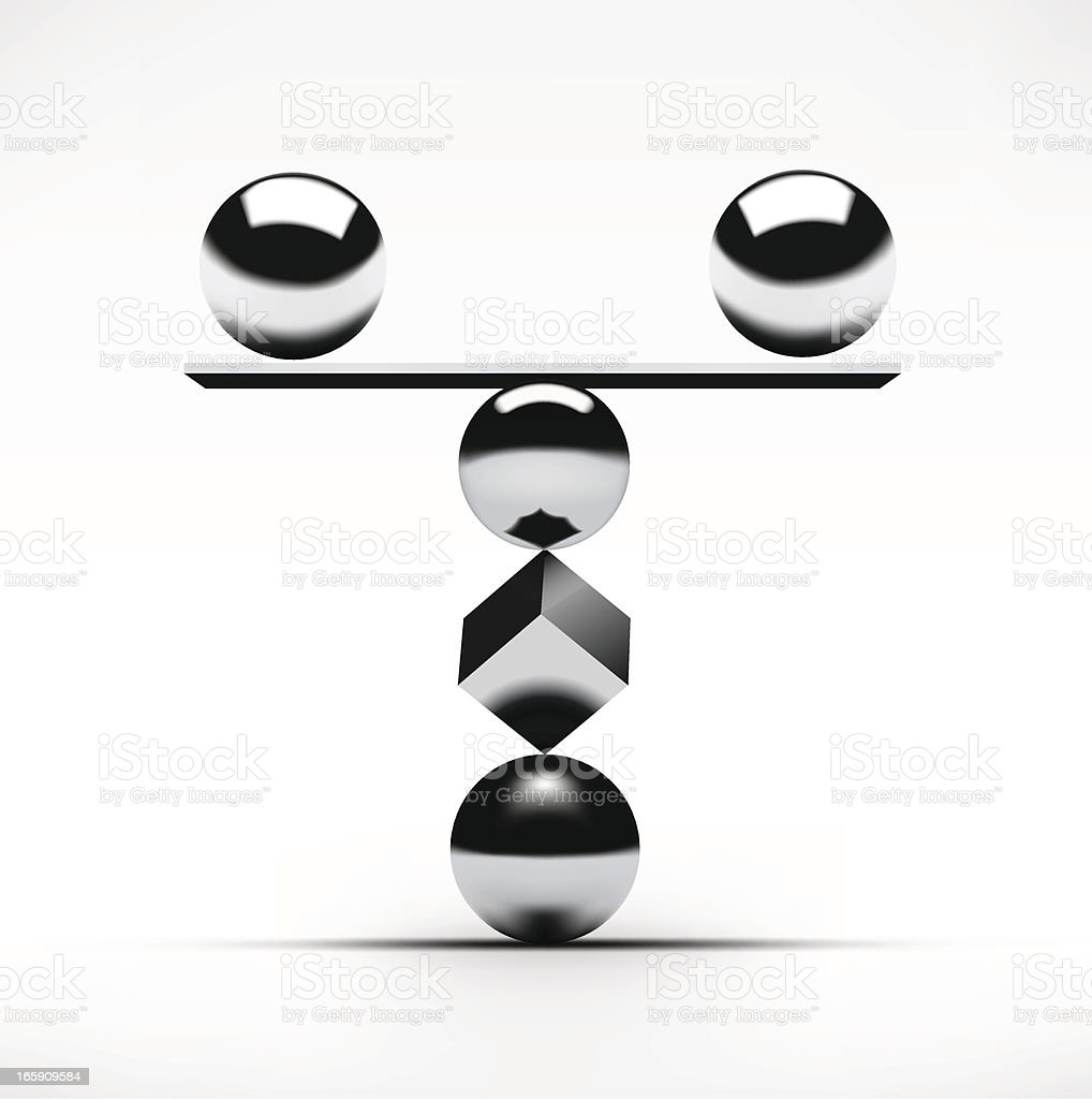 Balance concept featuring balls and a square with a ledge royalty-free stock vector art