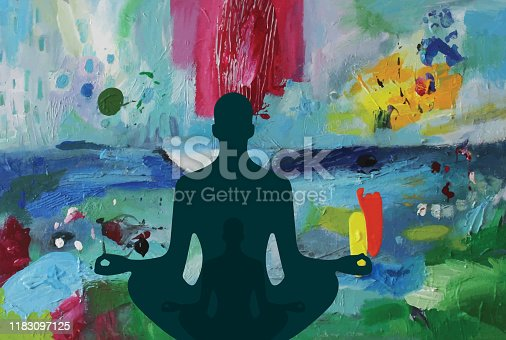 Silhouette of a men meditating in lotus pose placed on vectorized abstract acrylic background.