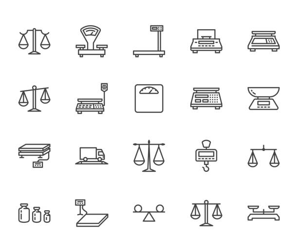 balance flat line icons set. weight measurement tools, diet scales, trade, electronic industrial scale calibration vector illustrations. thin sign justice concept. pixel perfect 64x64 editable stroke - waga opis fizyczny stock illustrations