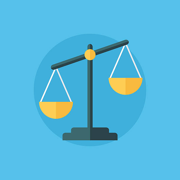 balance icon. law balance symbol. justice scales icon. - weight scale stock illustrations