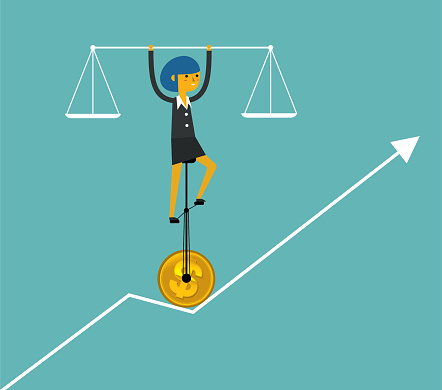 Balance Of Business Businesswoman Stock Illustration - Download Image Now