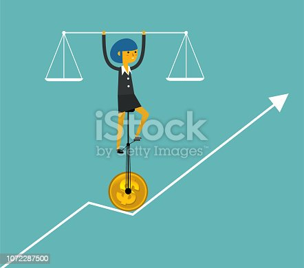 Balance Of Business Businesswoman Stock Vector Art & More Images of Accuracy 1072287500