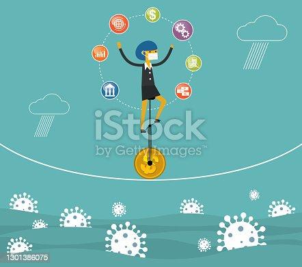istock Balance of business - Businesswoman 1301386075