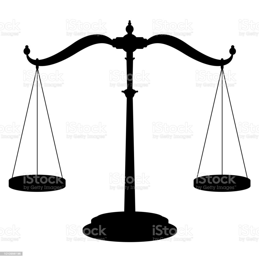 Icono escala de equilibrio - símbolo de pesaje del dispositivo con las dos cuelgan cacerolas perfectamente equilibrado - ilustración de vector aislado negro sobre fondo blanco. - ilustración de arte vectorial
