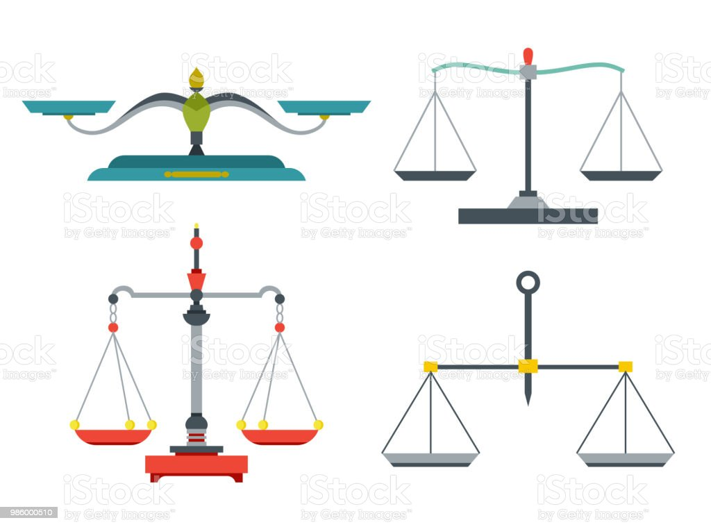 Balance scales with weight and equal pans. Device to measure mass, compare two objects, home and laboratory instrument. Vector flat style cartoon illustration isolated on white background vector art illustration