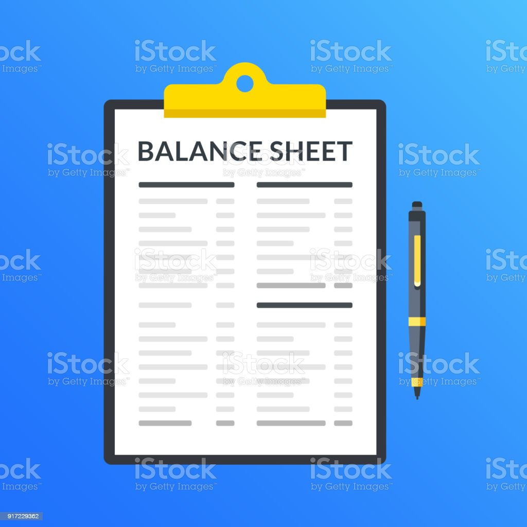 balance sheet clipboard with financial statement financial report