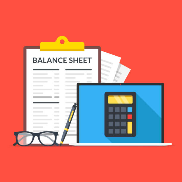 Balance sheet. Laptop with calculator on screen, glasses, pen and clipboard with financial statement. Flat design. Vector illustration Balance sheet. Laptop with calculator on screen, glasses, pen and clipboard with financial statement. Flat design. Vector illustration budget backgrounds stock illustrations