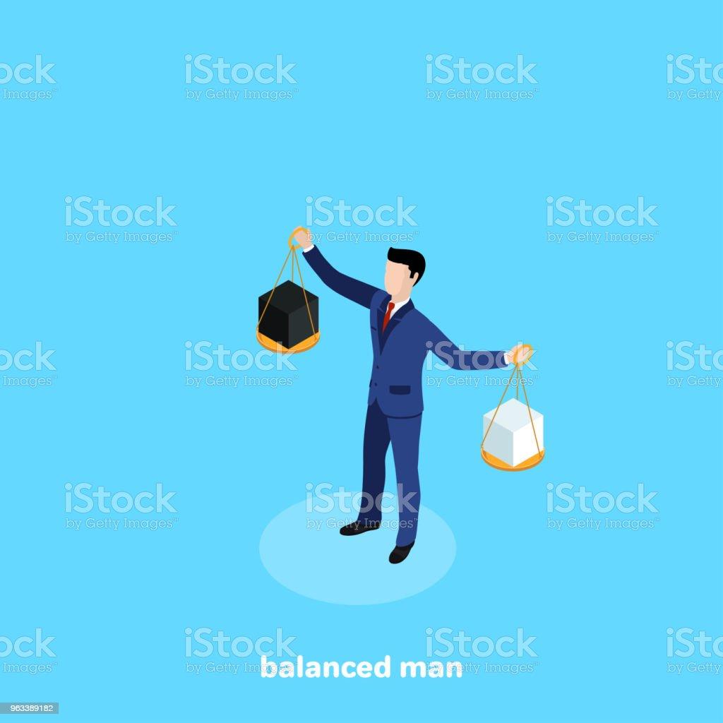 balanced man vector art illustration