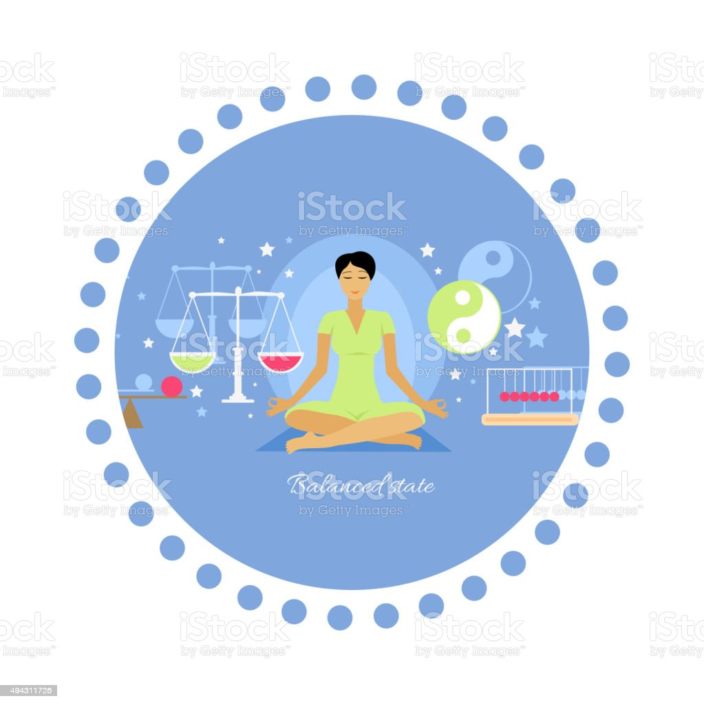 Balanced State Woman Icon Flat Isolated vector art illustration