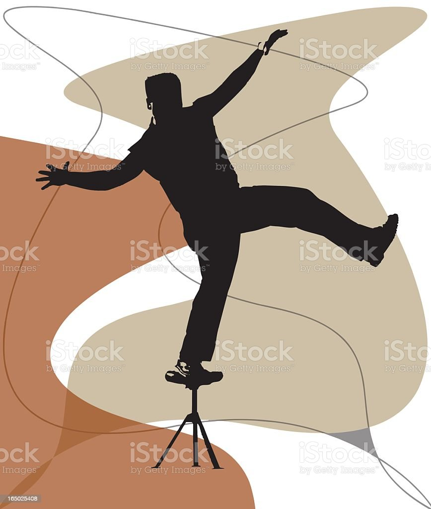 Balancing on a stool (vector) royalty-free stock vector art