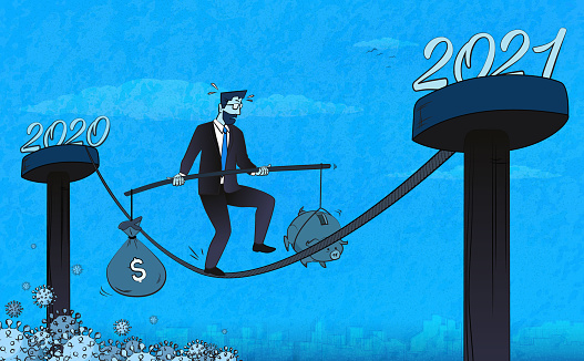 Businessman trying to balance financial system affected by coronavirus as he enters a new year. (Used clipping mask)