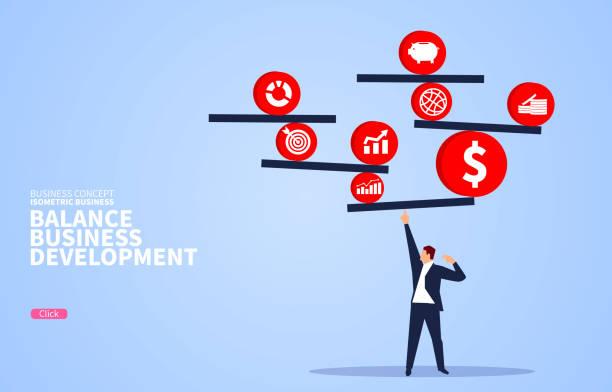 abwägung des konzepts der kommerziellen finanzentwicklung - gleichgewicht stock-grafiken, -clipart, -cartoons und -symbole