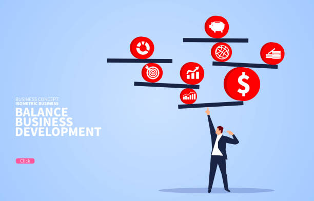 Balancing the concept of commercial finance development Balancing the concept of commercial finance development balance stock illustrations