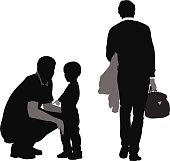 A vector silhouette illustration of one parent leaving for work while the other stays home with their young son.  One father is crouched comforting the child while the other father walks away, back turned, carrying a case and a jacket.