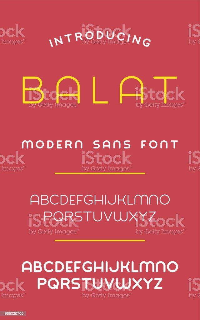 Balat Sans Font (Thin & Bold) Balat Sans Font on the Red Background Alphabet stock vector
