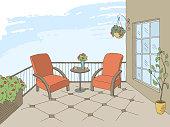 Balcony graphic color interior sketch illustration vector